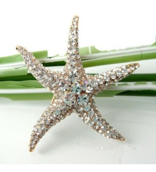 Navachi Plated Crystal Starfish Az7199b in Women's Brooches & Pins