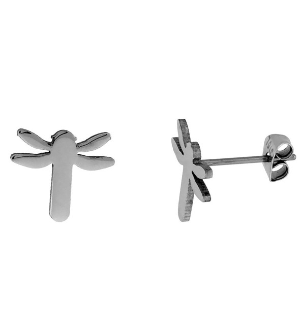 Stainless Steel Tiny Dragonfly Stud Earrings 1/2 inch - C5117V5B9LD
