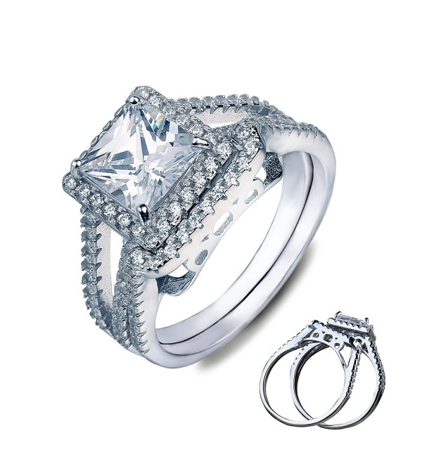Vancona Love Couple Delicate Solitaire Engagement Stack Rings Double Rings - CC127V2HTZZ