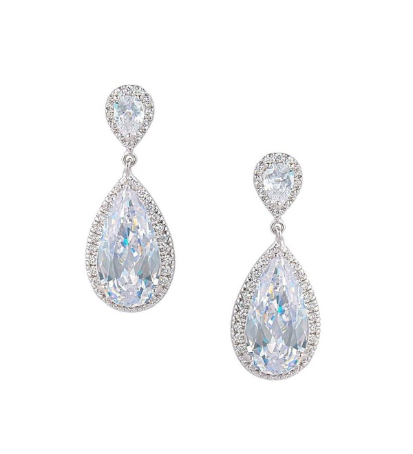 EVER FAITH Women's Cubic Zirconia Wedding 2 Tear Drop Pierced Dangle Earrings Clear Silver-Tone - C211TXB8HN1