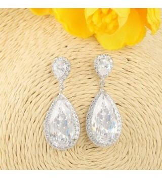 EVER FAITH Zirconia Earrings Silver Tone in Women's Drop & Dangle Earrings