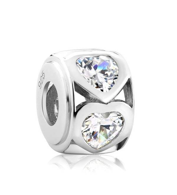 Beautiful Sterling Silver Heart Shape Cubic Zirconia 11mm Bead Charm - CT129XJQP63