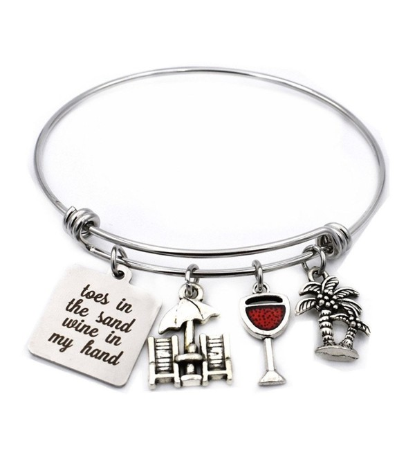 Toes in the Sand Wine in My Hand Bangle Adjustable Wire Charm Bracelet Jewelry Gifts for Beach Lovers - CY187E7O24E
