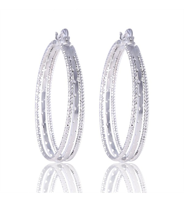 GULICX Jewelry Snap Closure Silver Plated Base White Party Vogue hoop earring Gilrl Women - C31222TUOLX