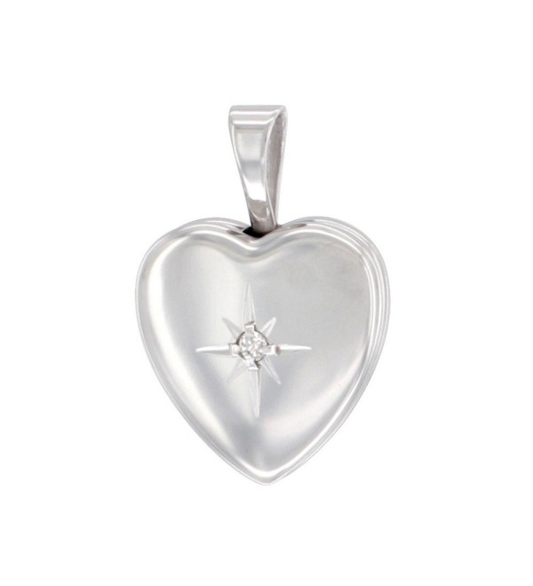 Very Tiny Sterling Silver Diamond Heart Locket Necklace 1/2 inch - CQ11E1FRJRJ