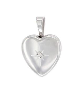 Very Tiny Sterling Silver Diamond Heart Locket Necklace 1/2 inch - CQ11E1FRJRJ