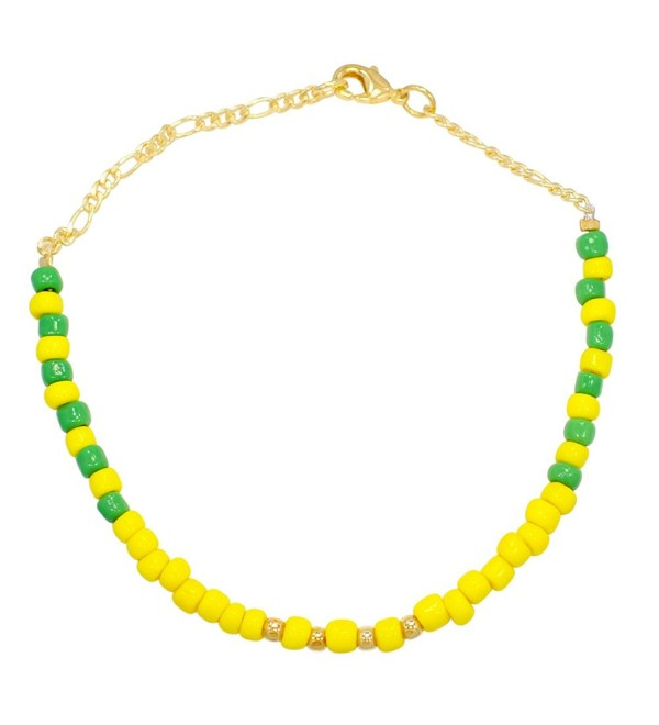 "14k Gold Plated Green Yellow Beads Orula Babalawo Santeria Anklet 10"" - CL11Q0LVGV7"