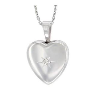 Sterling Silver Diamond Locket Necklace in Women's Lockets