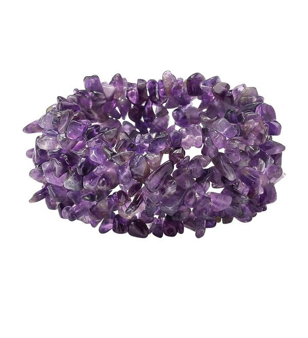 "Genuine Purple Amethyst Nugget Stretch Bracelet 7"" - C817Z59KROL"