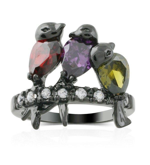 JanKuo Jewelry Black Rhodium Finished Dark Multi-Color CZ Bird Ring with Gift Box - CD11KT5F7K1