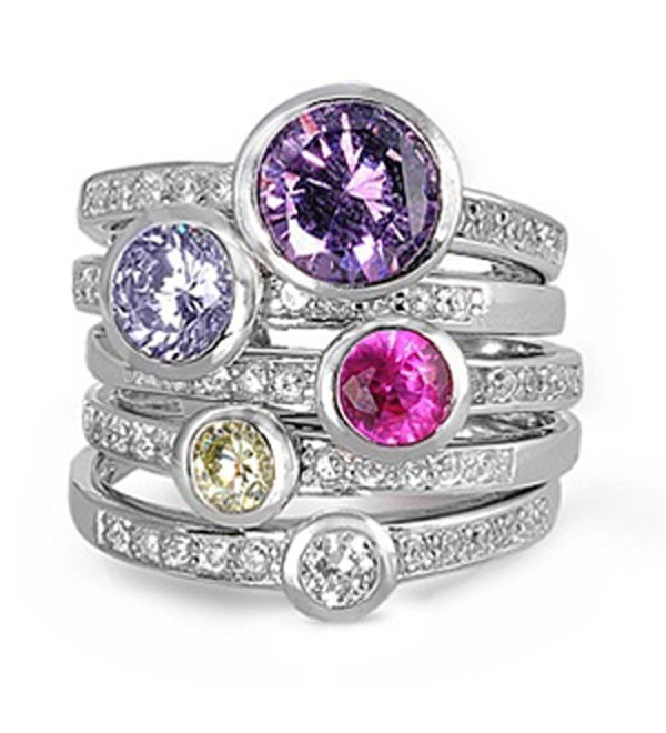 CHOOSE YOUR COLOR Sterling Silver Round Set Ring - Multicolor Simulated Cubic Zirconia - CP11GQ4BBSB