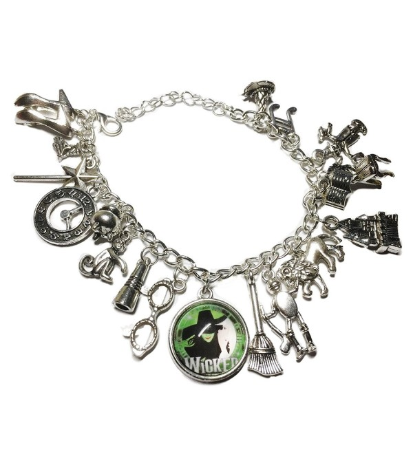Wicked Musical Themed Silvertone Metal and Glass Dome Charms Bracelet - C018879Q93A