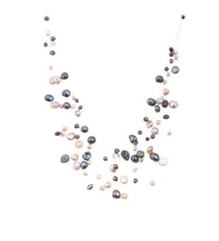 Lureme Multicolor Irregular Freshwater Pearl Cream and Black Multilayer Strand Illusion Necklace for Women 100555 - CO11GHPGC1F