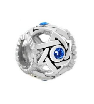 LovelyJewelry Lucky Blue Birthstone Crystal Evil Eye Star of David Charm Beads For Bracelet - CU11TC1BIGZ