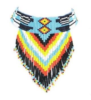 Viva NON STYLE BEADWORK BLACK TURQUOISE BLUE BEADED CHOKER NECKLACE EARRINGS SET 18-1 - C812KSIZUQJ