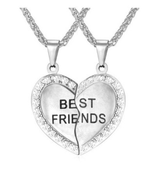 BFF Necklace For Girls Set of 2 Rhinestone Heart Shaped Friendship Pendant Necklace- Best Bithces Engraved - CA12HGZ903L