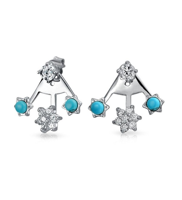 Bling Jewelry .925 Silver Synthetic Turquoise CZ Modern Flower Ear Jackets - C112ITIY72N