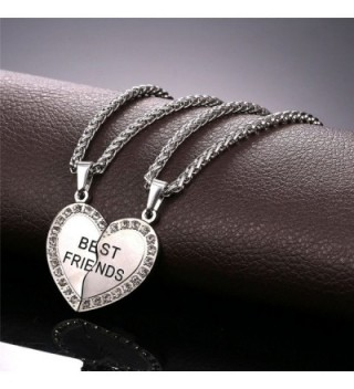 U7 Stainless Rhinestone Engraved Friendship in Women's Pendants
