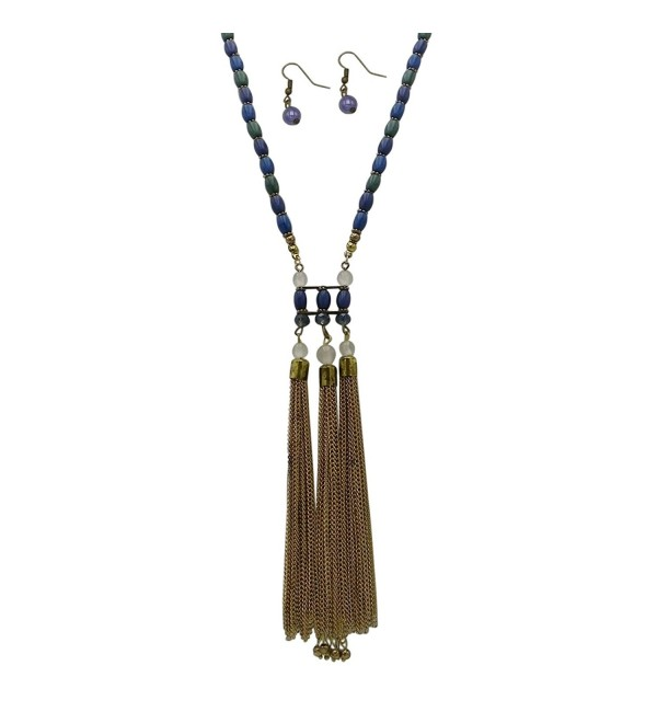 Rosemarie Collections Women's Chain Tassel Beaded Long Necklace Earrings Set Blue Green - CE12M9FC2TR