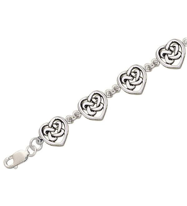 "Celtic Trinity Knot Heart Link Bracelet- 7.5"" Nickel-Free Sterling Silver - CW111GA05DL"