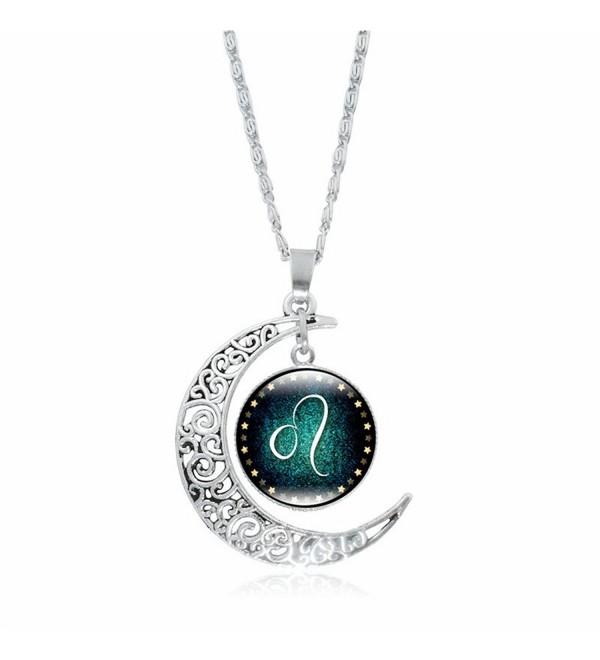 UEXIA Women's Zodiac Necklace 12 Constellations Pendant Clavicle Chain Necklaces - 02-Leo - C3188WKEALO