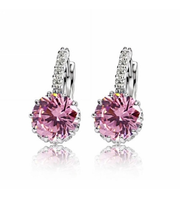 Topaz Earrings 18K White Gold GP Crystal AAA Zircon Earring Silver Stud Earrings Hoop - pink - CT182SCECWA