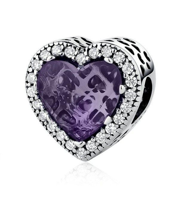 The Kiss Radiant Hearts Purple Crystal Clear CZ 925 Sterling Silver Bead Fits European Charm Bracelet - CY17YC2W5OS