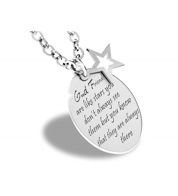 Good Friends Are Like Stars Inspirational Friendship Quotes Necklace Stainless Steel Charm Pendant - CB128OZTRNP