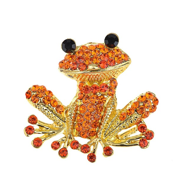 Alilang Fiery Orange Red Happy Crystal Rhinestones Golden Tone Smiling Frog Pin Brooch - CM116E0XXP1
