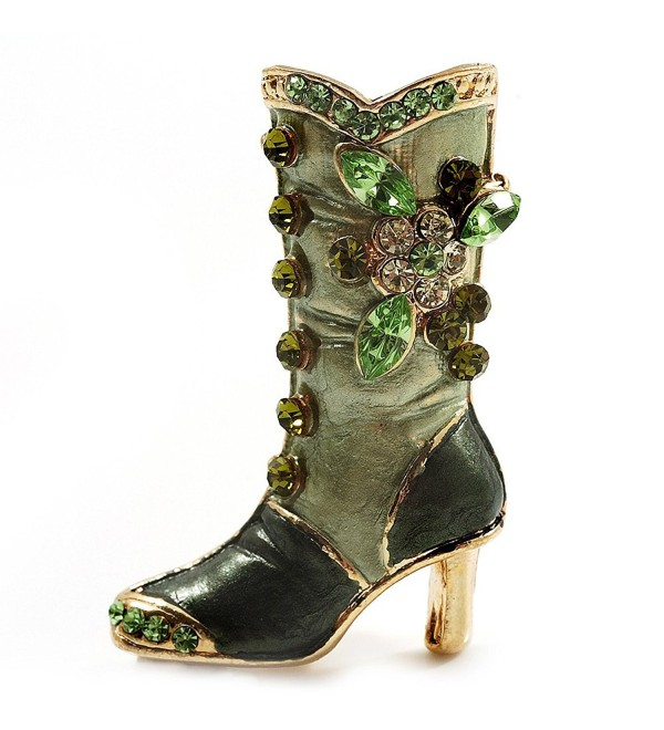 Olive Green Enamel Crystal High Boot Pin Brooch (Gold Tone Metal) - CE115QX9DMJ