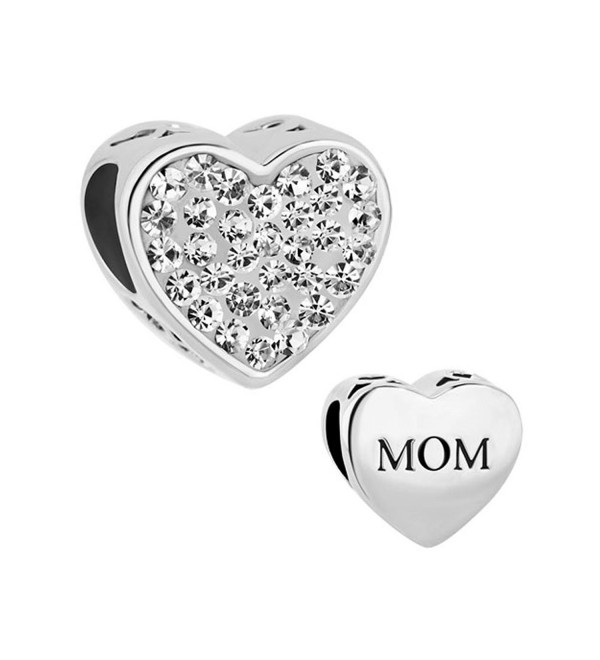Q&Locket Heart Love Mom Charm Mothers Day Charms Bead For Bracelet - White - CN17YSC6CD4