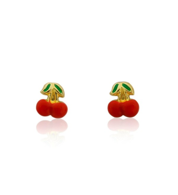 10k Gold Enamel Red Apple Stud Earrings - CI1209WYKIN