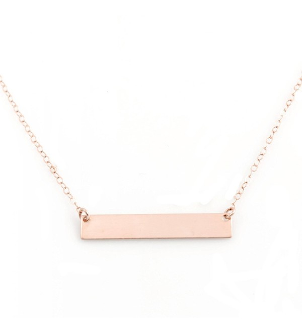 "Bar Necklace with Engravable Pendant- 14k Rose Gold Filled- 18""- by Wild Moonstone - C1186E7KZEE"