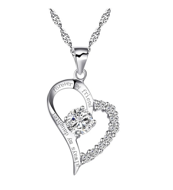 "Sterling Silver Heart ""Always My Daughter Forever My Friend"" Necklace Cubic Zirconia Engraved Pendant - CP17YDHXRLD"