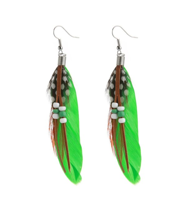 MELUOGE Bohemian Tassel Drop Earrings For Women Wedding Party Jewelry Natural Feather Dangling Earrings - Green - CY18678NMOC