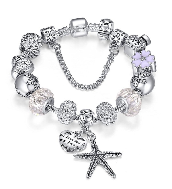 Presentski Silver Plate Charm Bracelet Christmas Gift for Beloved Ones - White 7.1inches - CT12N5P5U7E