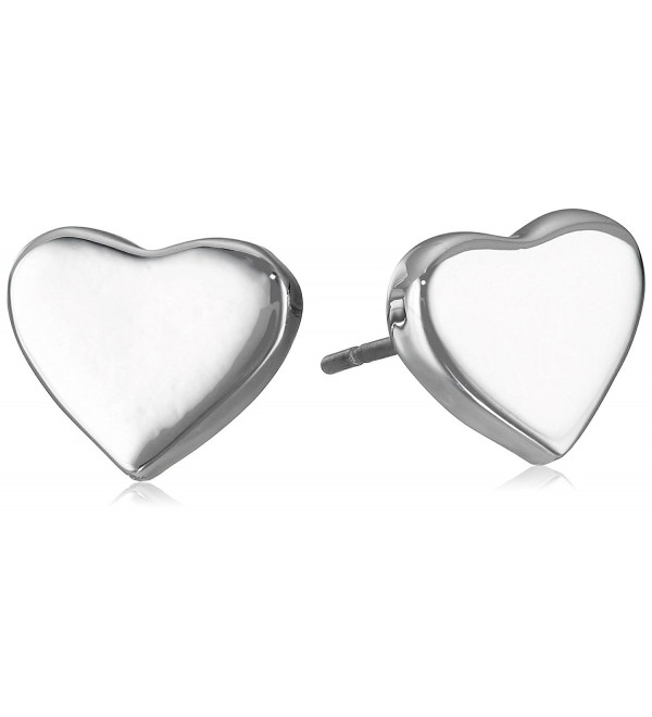 "T Tahari ""Essentials"" Silver Heart Stud Earrings - CA128C14A91"