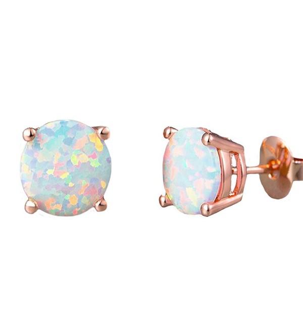 daa3808a0040f 18K White Gold Plated Small Round Opal Stud Earrings- women stud earrings  girl - rose - CH188STR8EY