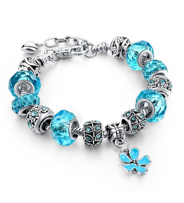 Long Way Silver Plated Snake Chain Blue Glass Bead Heart Charm Bracelet - Blue - CG12MWAYNU4