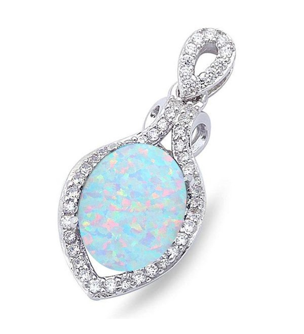 "Lab Created Opal & Cubic Zirconia .925 Sterling Silver Pendant 1"" long Colors Available - C8186GOW6O7"