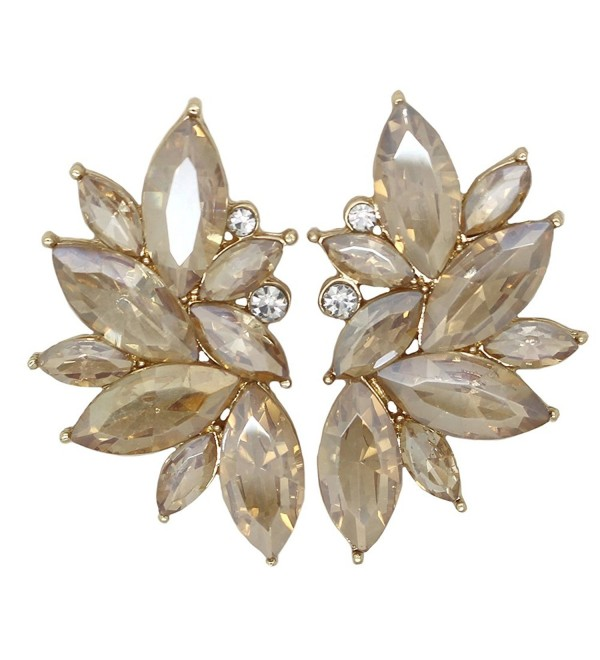 Xdaccgo Luxury Leaves Shape Glass Cluster Crystal Teardrop Flower Design Studs Earrings - Chanpagne - C217Z3I2CS6