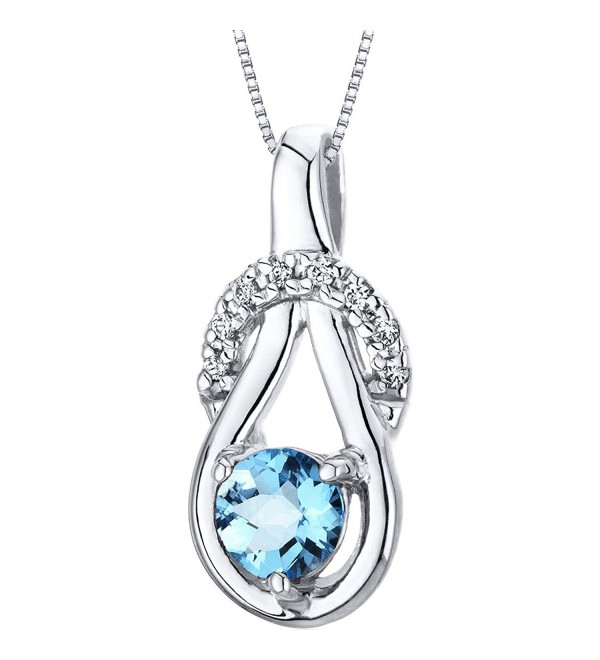 Swiss Blue Topaz Pendant Necklace Sterling Silver Checkerboard Cut 0.50 Carat - CP116IQL187