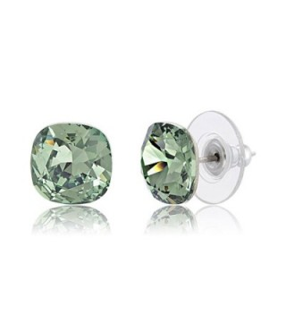 Lesa Michele Green Cushion Stud Earring in Stainless Steel made with Swarovski Crystals - C9187ZZ42GY