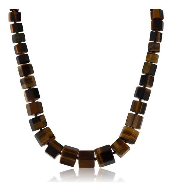 Gorgeous 18 Inch Octagon Cut Tiger Eye Loose Stone Beads Necklace With Lobster Clasp - CJ12CLTG04T