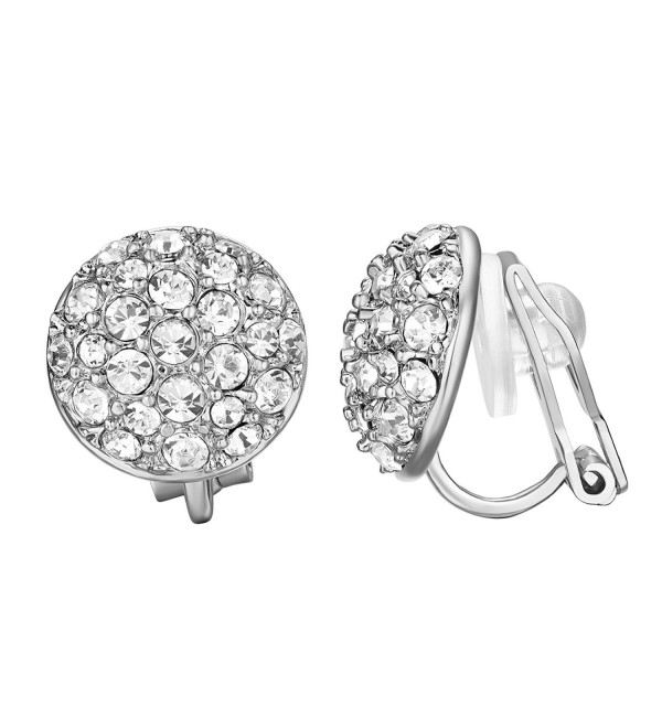 Yoursfs Clip On Earrings with Round Austrian Crystals (18k Rose Gold Plated) - White - CB11NHK7R1R