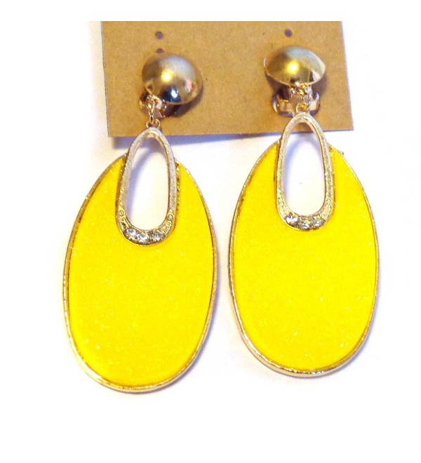 Clip-on Earrings Oval Hoop Dangle Bright Yellow Clip Earrings - CA12KO3TWCV