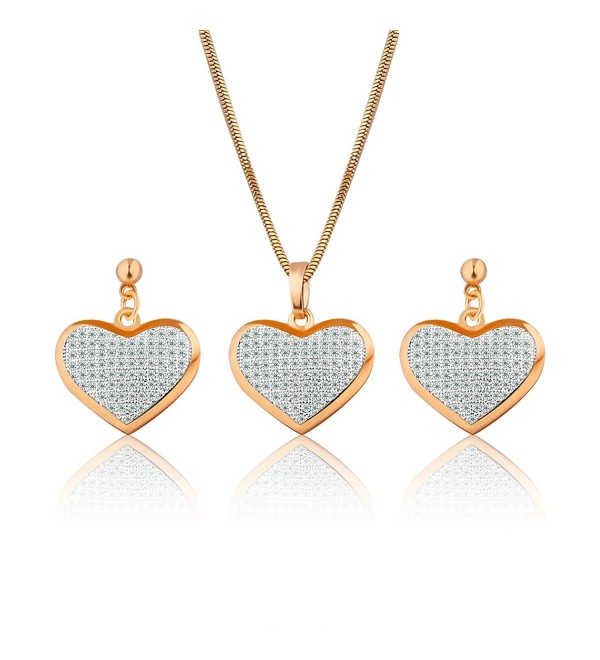 GULICX Gold Plated Base White Zircon Crystal Heart Drop Earrings Necklace Set Jewellery Party - CT127X4MVIL