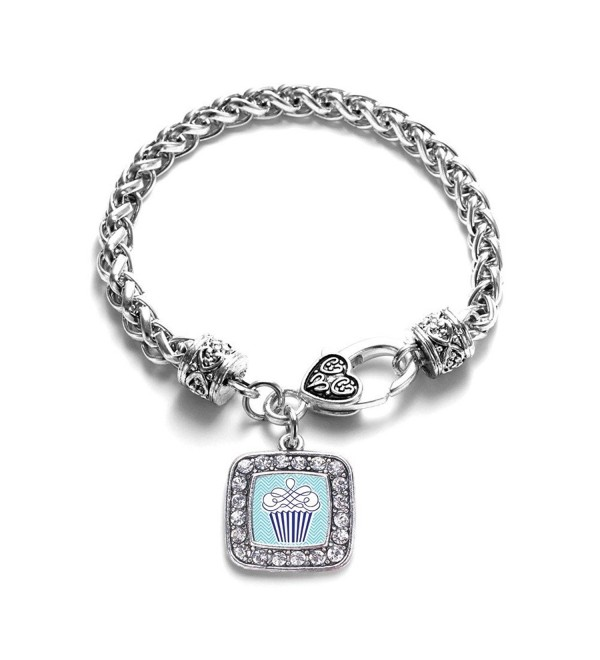 Blue Chevron Cupcake Classic Braided Classic Silver Plated Square Crystal Charm Bracelet - CX11XMU51XD