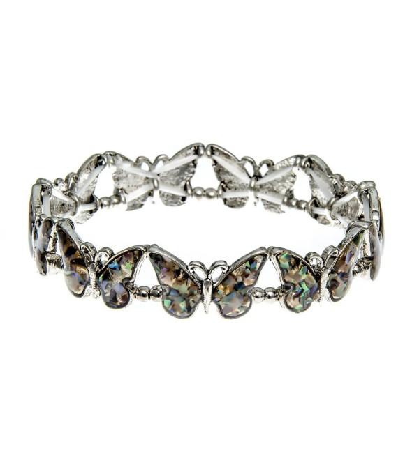 PammyJ Silvertone and Abalone Multiple Butterfly Stretch Bracelet - C712D77VIQT