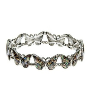 PammyJ Silvertone and Abalone Multiple Butterfly Stretch Bracelet - C712D77VIQT